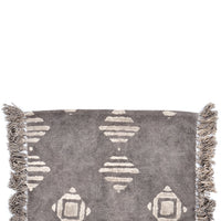 Grey / Ivory: Block Printed Floor Mat in Grey / Ivory - LEIF
