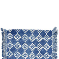 Indigo / White: Block Printed Floor Mat in Indigo / White - LEIF
