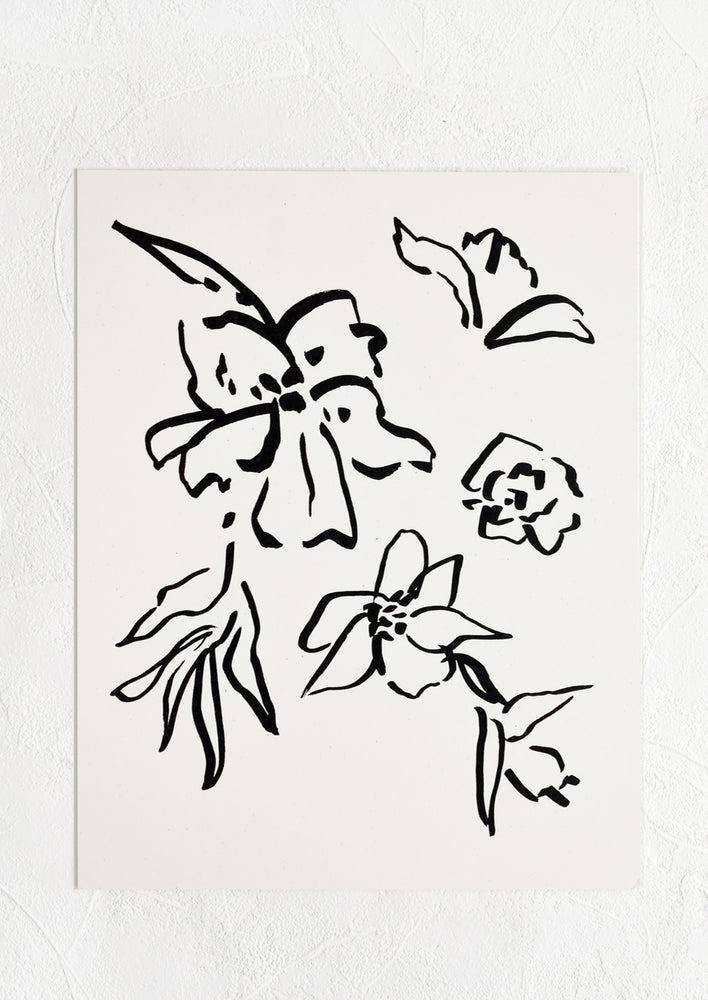 1: Art print of black line floral drawing on white background.