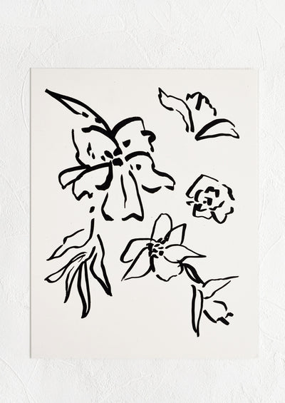 Art print of black line floral drawing on white background.