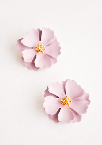 Blooming Magnolia Earrings in Lilac - LEIF