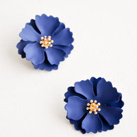 Navy: Blooming Magnolia Earrings in Navy - LEIF