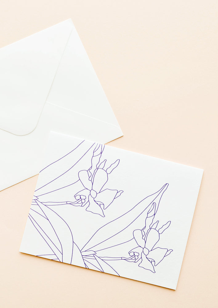 1: Notecard with blue drawing of jasmine flowers, with white envelope.
