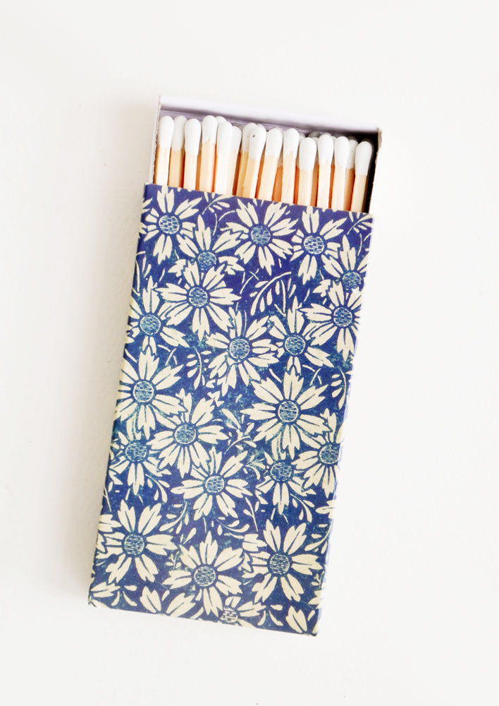 1: Matchbox with long length matches, box printed in blue floral pattern