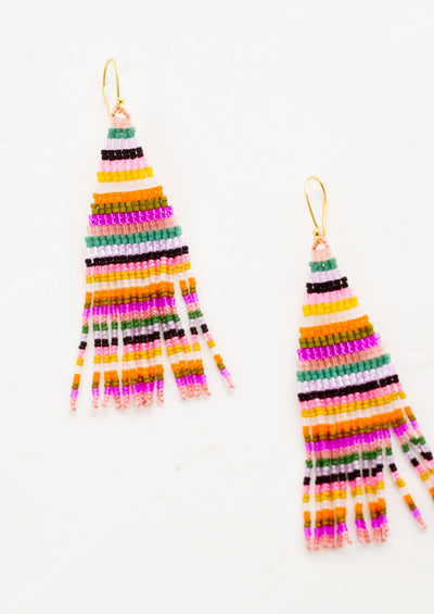 Earrings made from colorful glass beads in horizontal stripes, with triangular top and fringed bottom, colorful