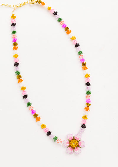 "Beaded necklace with ""chain"" comprised of colorful beaded flowers, beaded flower pendant at front"