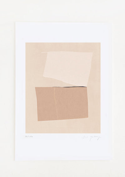 An abstract art print featuring a composition in tones of beige and brown.