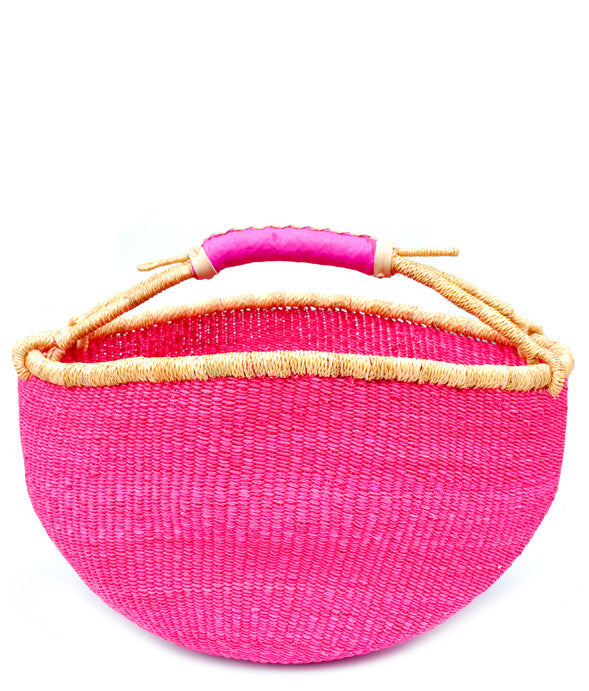 Leather Trimmed Bolga Basket - LEIF