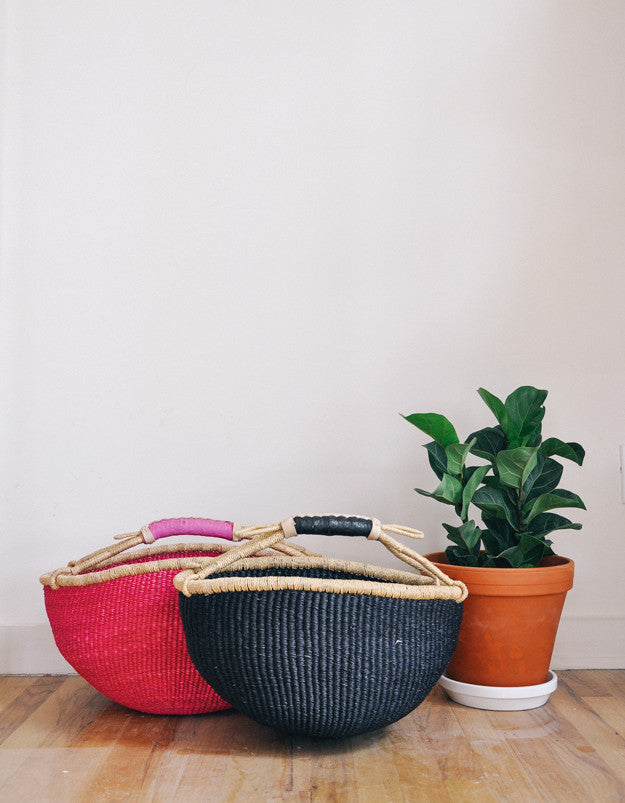 Leather Trimmed Bolga Basket