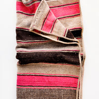 1: Vintage wool textile in pink, tan & brown striped pattern