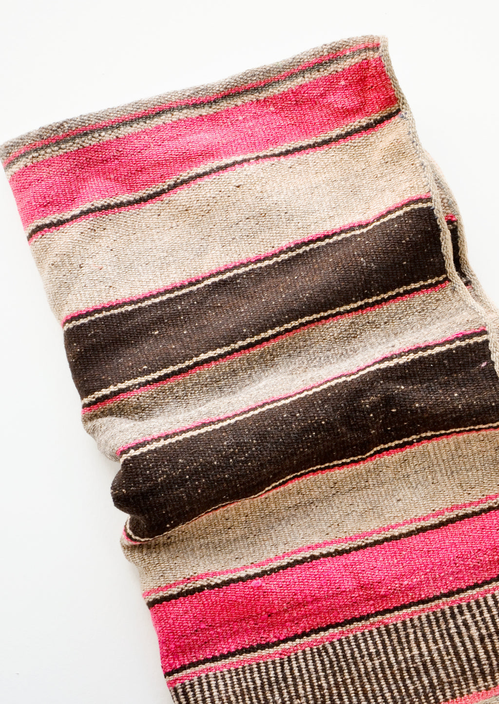 2: Vintage wool textile in pink, tan & brown striped pattern