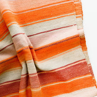 1: Woven textile intended for use as a rug or blanket, variegated colorful striped pattern.