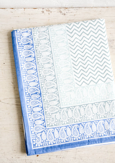 Bordered Block Print Tablecloth