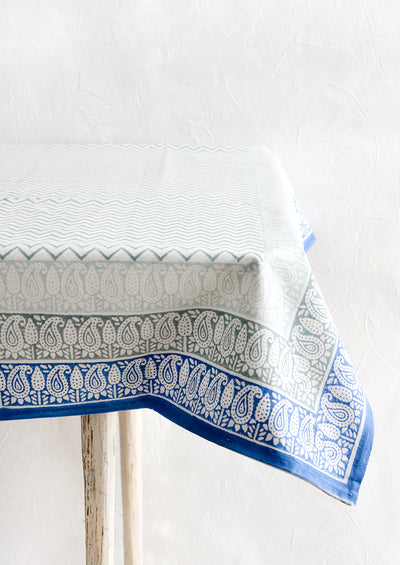 Bordered Block Print Tablecloth hover