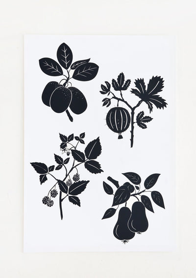 A black and white digital art print with silhouetted botanical imagery.