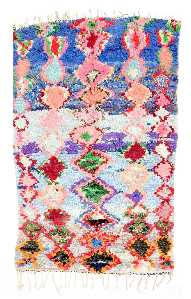 Boucherouite Rug, Blue & Pink Diamonds ... - Boucherouite Rug, Blue & Pink Diamonds
