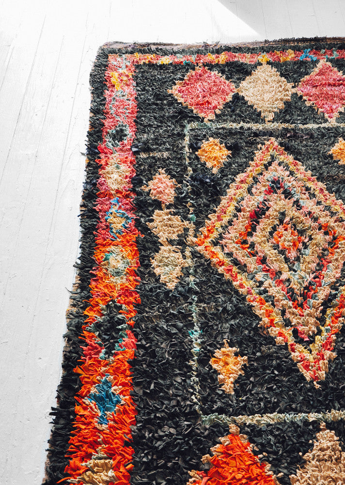 Boucherouite Rug, Dark Diamond
