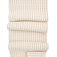 Cream / Stone: Heritage Stitch Stripe Blanket in Cream / Stone - LEIF
