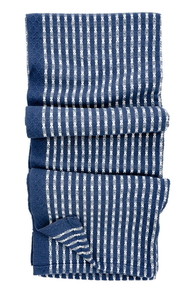 Indigo / White: Heritage Stitch Stripe Blanket in Indigo / White - LEIF