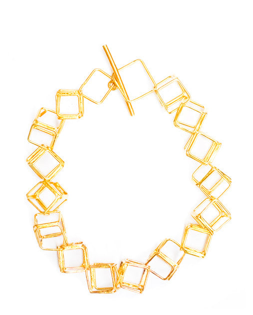 Brass Cube Toggle Bracelet