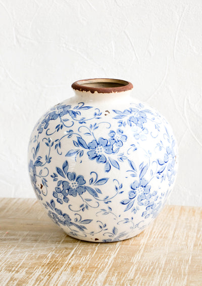 "Blue floral ""broderie"" vintage inspired ceramic vase with narrow mouth opening"