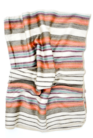 Shupaca Striped Alpaca Fleece Throw Oasis