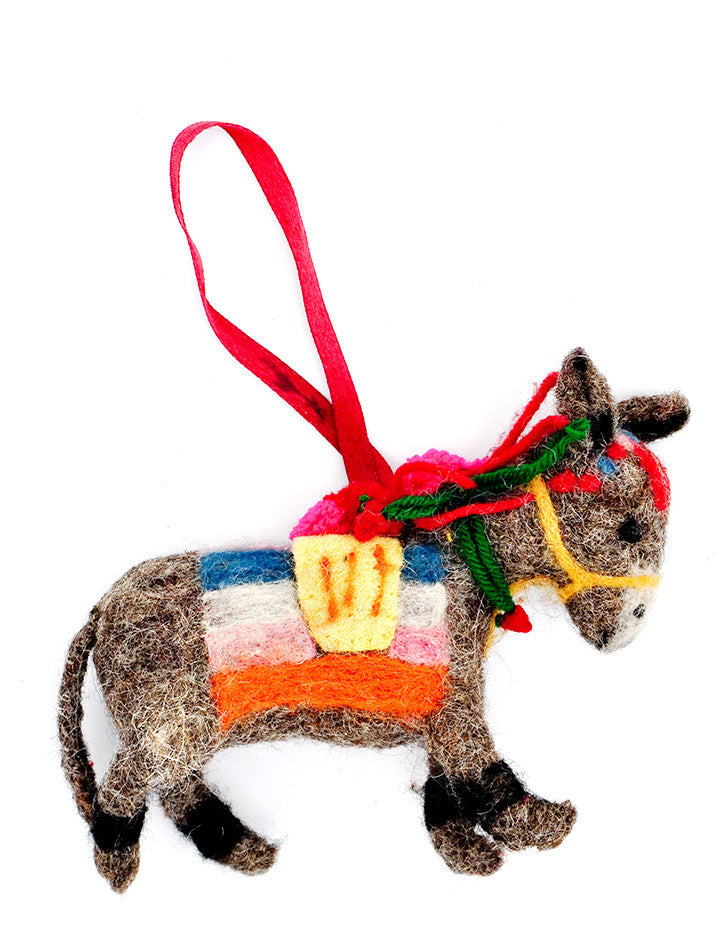 Felted Burro Ornament