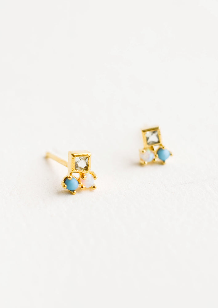 1: Small stud earrings with three mixed gemstones stacked together