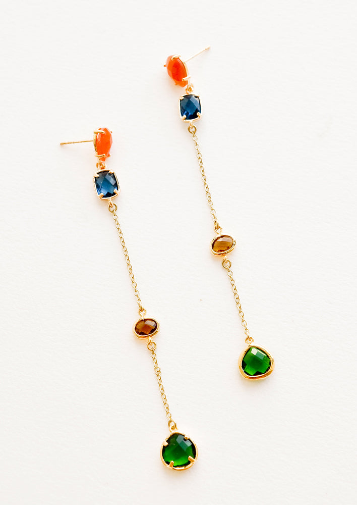 1: Gold drops earrings with staggered glass crystals of orange, blue, amber, and green.