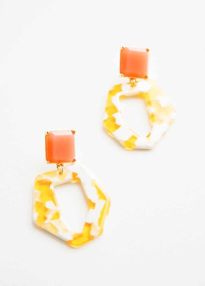 Yellow / Peach: Acetate earrings with square coral gem post and yellow and white abstract oval drop.