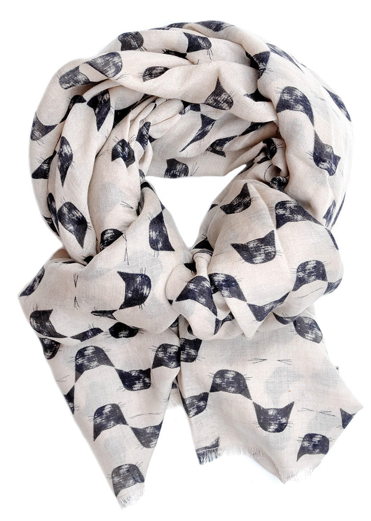 Cat Print Wool-Silk Scarf - LEIF