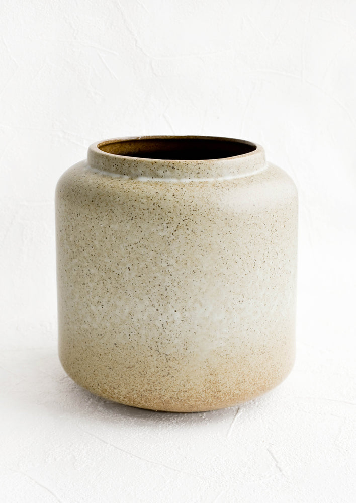 1: Cylindrical ceramic vessel with wide mouth opening suitable for use as a vase, planter or utensil holder