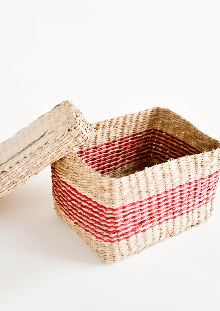 3: Rectangular woven straw storage basket with matching lid