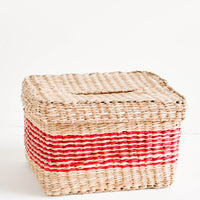 Natural / Red: Rectangular woven straw basket in natural color with thin red stripes at middle, with matching lid
