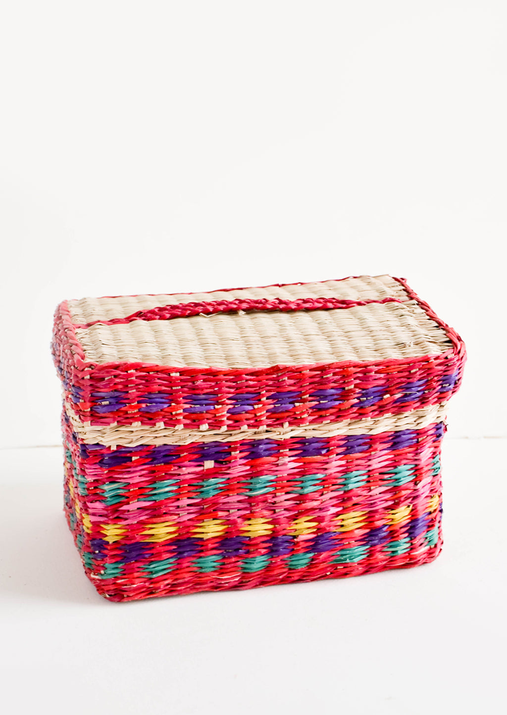 Red / Multicolor: Rectangular woven straw basket in natural color with red multicolor stripe detailing, with matching lid