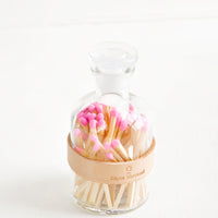 Blush: Leather Wrapped Match Jar in Blush - LEIF