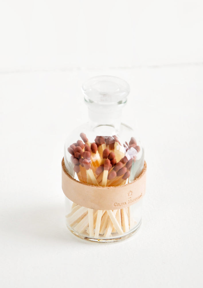 Fig: Leather Wrapped Match Jar in Fig - LEIF