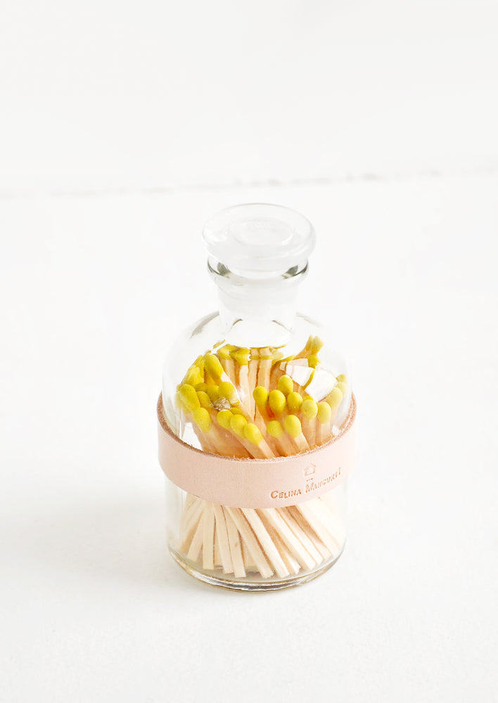 Yellow: Leather Wrapped Match Jar in Yellow - LEIF