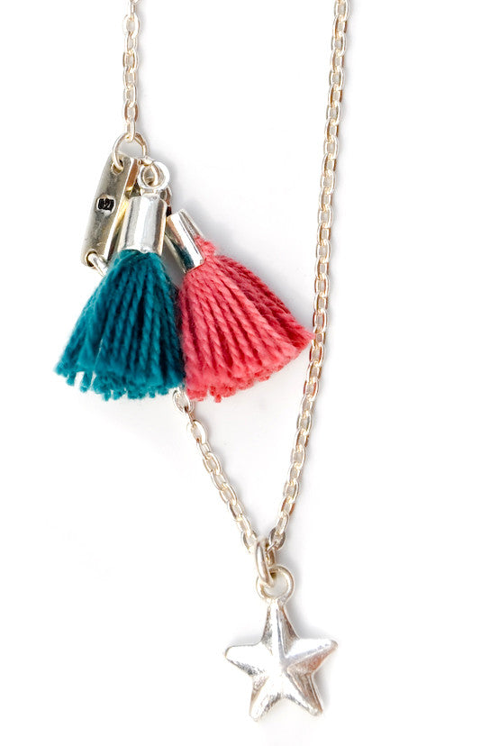 Charm & Tassel Necklace in Silver - LEIF