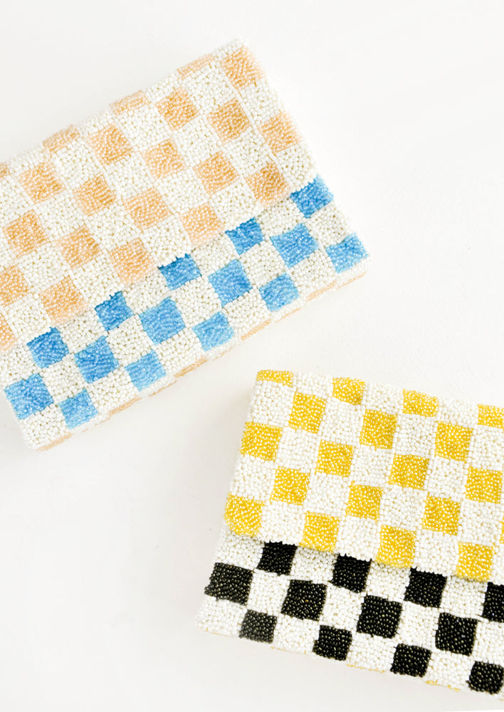 2: Checkerboard Beaded Clutch in  - LEIF