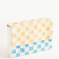 Coffee / Turquoise: Checkerboard Beaded Clutch in Coffee / Turquoise - LEIF