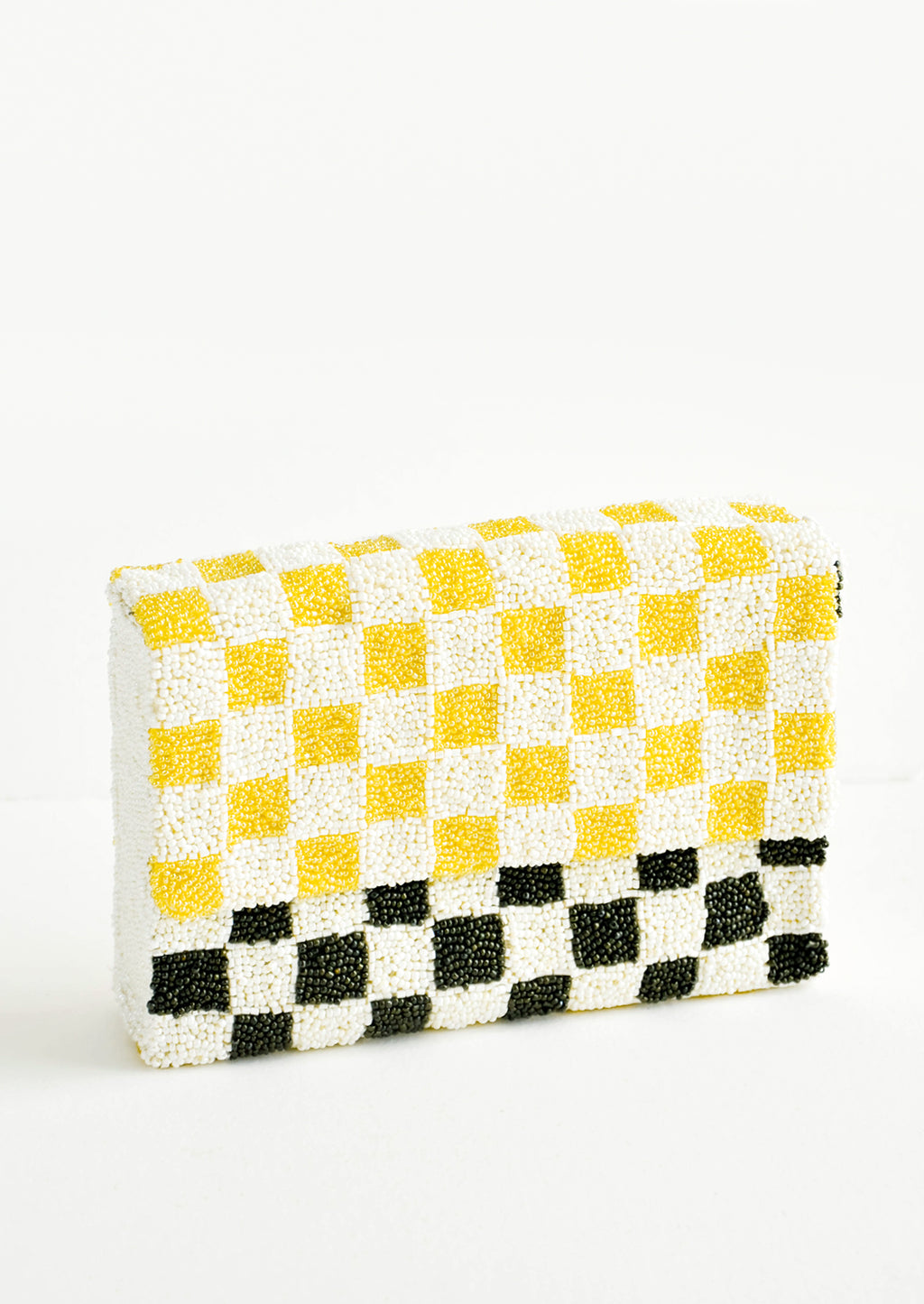 Yellow / Olive: Checkerboard Beaded Clutch in Yellow / Olive - LEIF