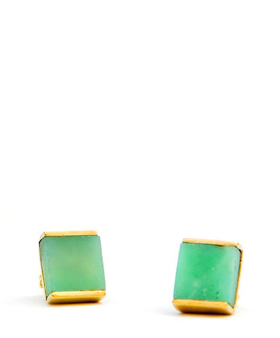 Chrysoprase Cube Stud Earrings