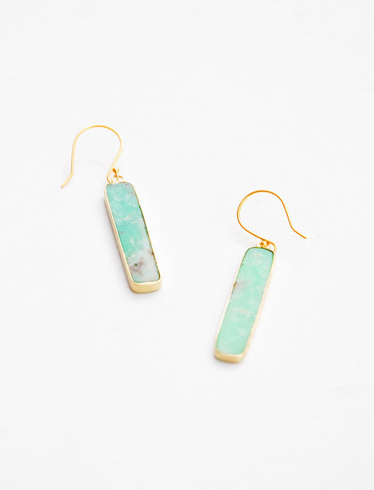 Chrysoprase Bar Earrings - LEIF