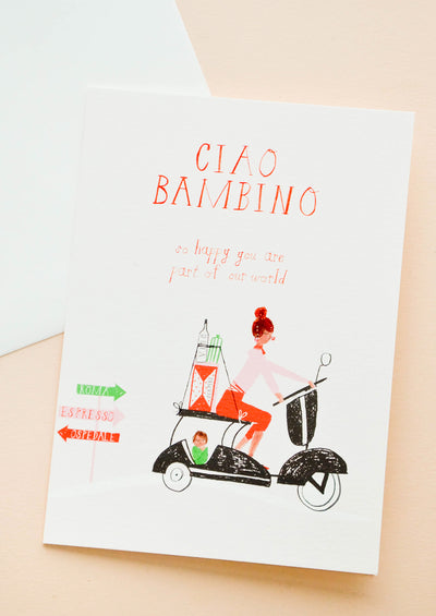 Greeting card with woman in Italy on a vespa carting baby supplies in the back