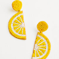 Lemon: Citrus Beaded Earrings in Lemon - LEIF