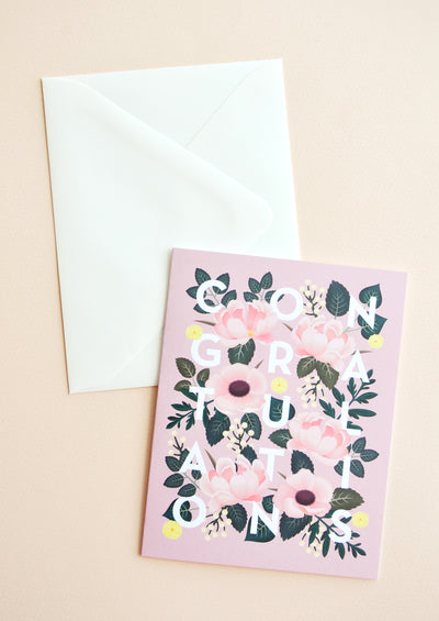 Floral Foliage Congratulations Card