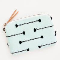 Minty Fringe: Clare Fabric Zip Pouch in Minty Fringe - LEIF