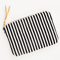 Clare Fabric Zip Pouch in Monochrome Stripe - LEIF