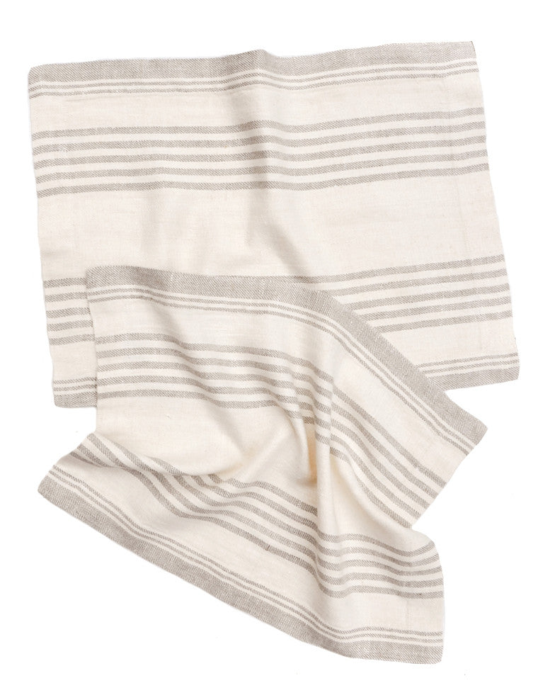 Classic Stripe Linen Placemat Set in Cream / Natural Stripe - LEIF